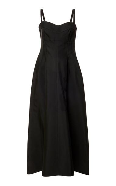 Jil Sander Bustier Flared Twill Midi Dress in black