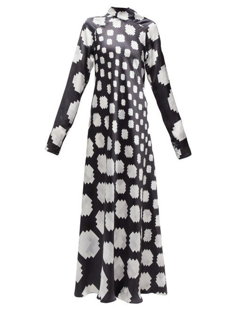 Marni - High Neck Pixel Print Satin Maxi Dress - Womens - Black White