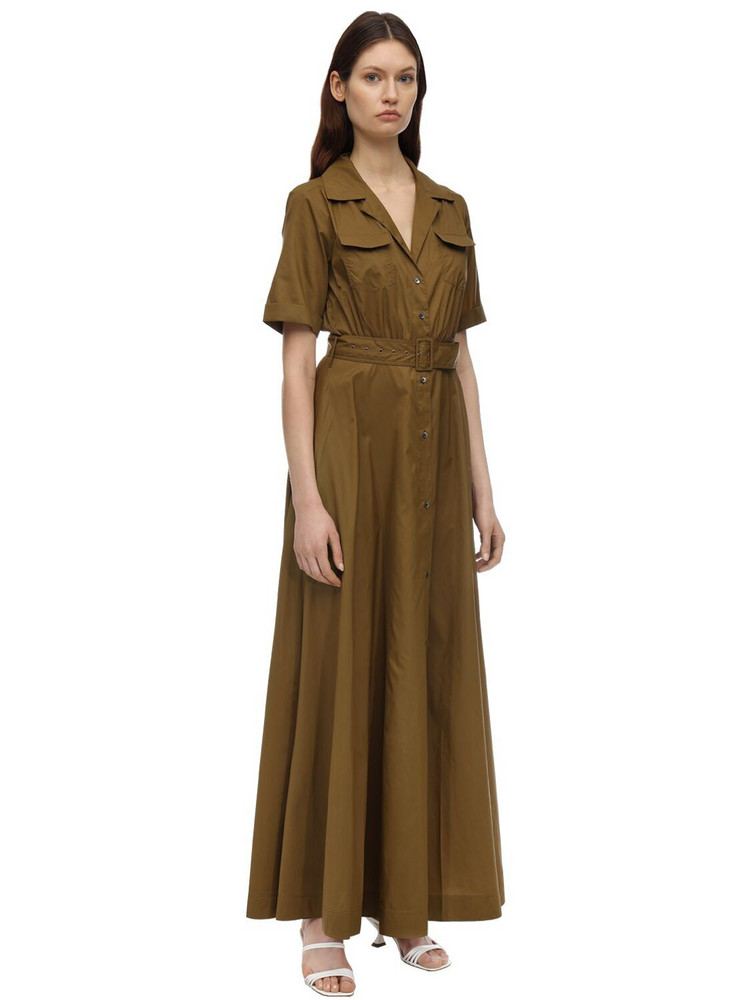 STAUD Belted Nylon Maxi Dress in green