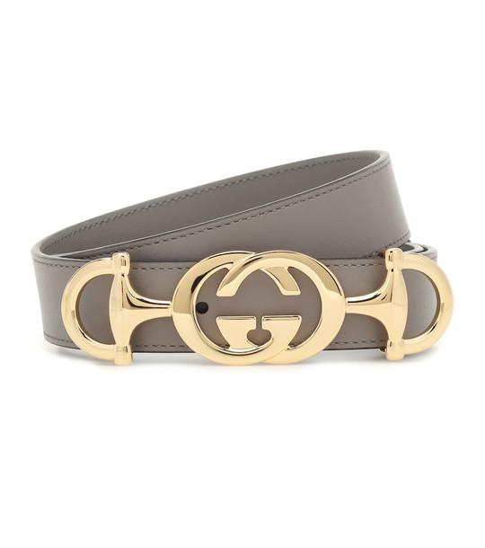 Gucci GG Horsebit leather belt in grey