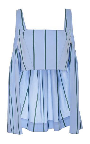 Rosie Assoulin Watteau-Back Striped Cropped Cotton-Blend Top
