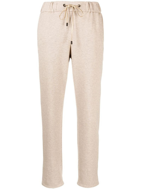 Peserico cropped drawstring track pants in neutrals