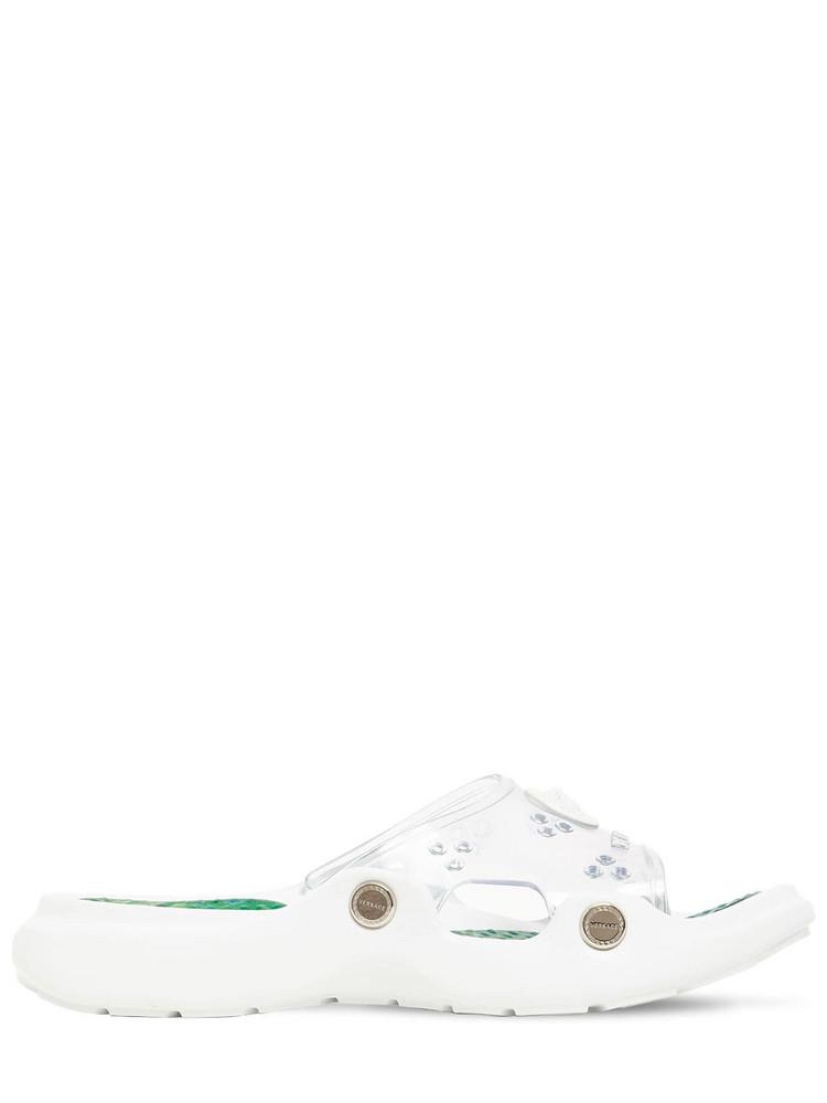 VERSACE 30mm Rubber Slide Sandals in transparent