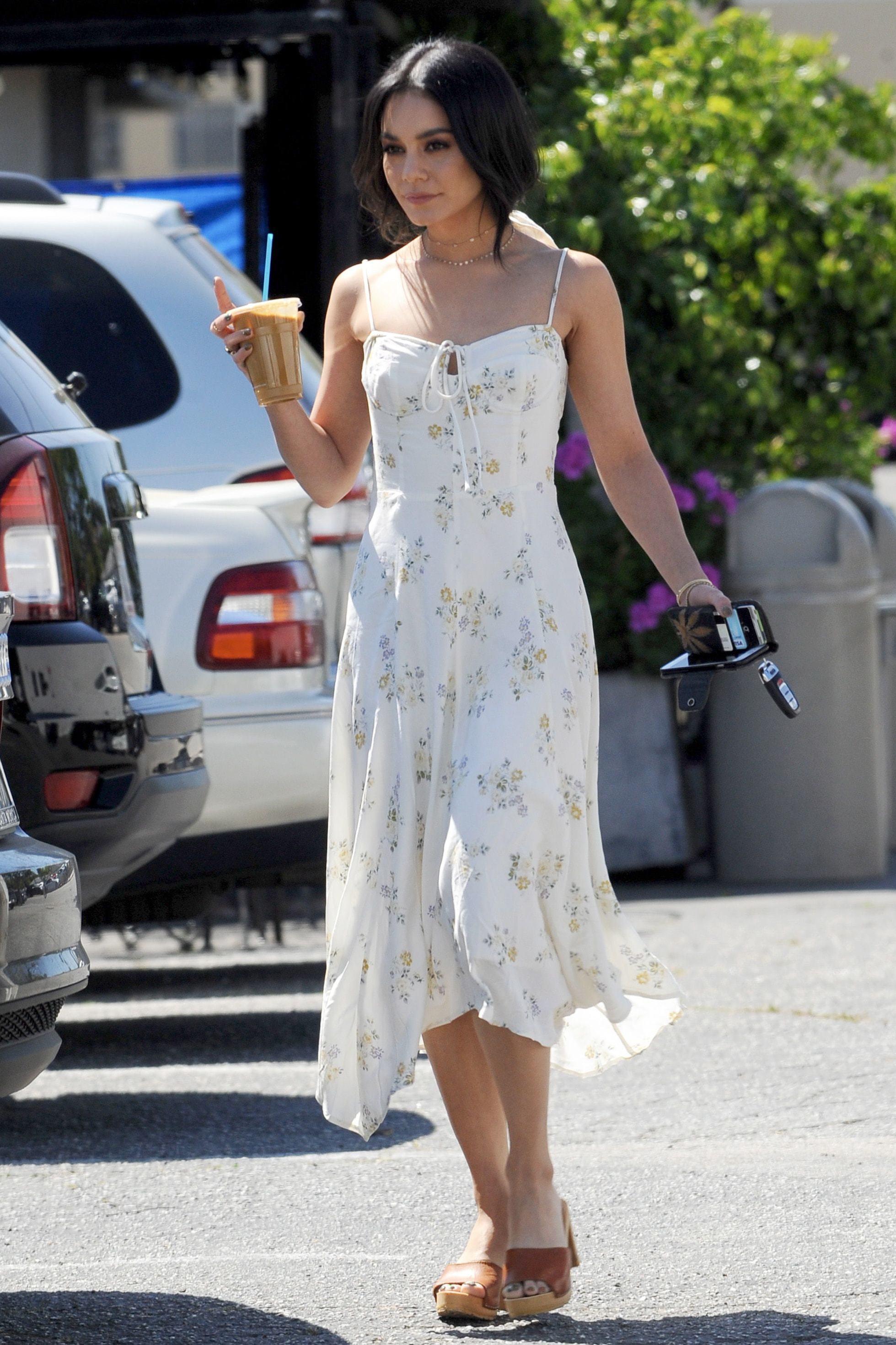 dress midi dress vanessa hudgens celebrity summer dress