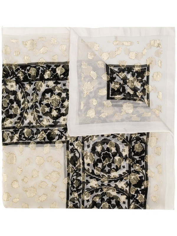 Yves Saint Laurent Pre-Owned floral pattern scarf in white