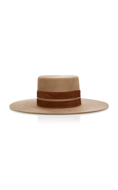Janessa Leone Phoenix Wide-Brim Wool Hat Size: S in brown