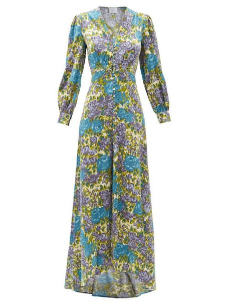 Luisa Beccaria - Floral-print Silk-blend Crepe Maxi Dress - Womens - Green Multi