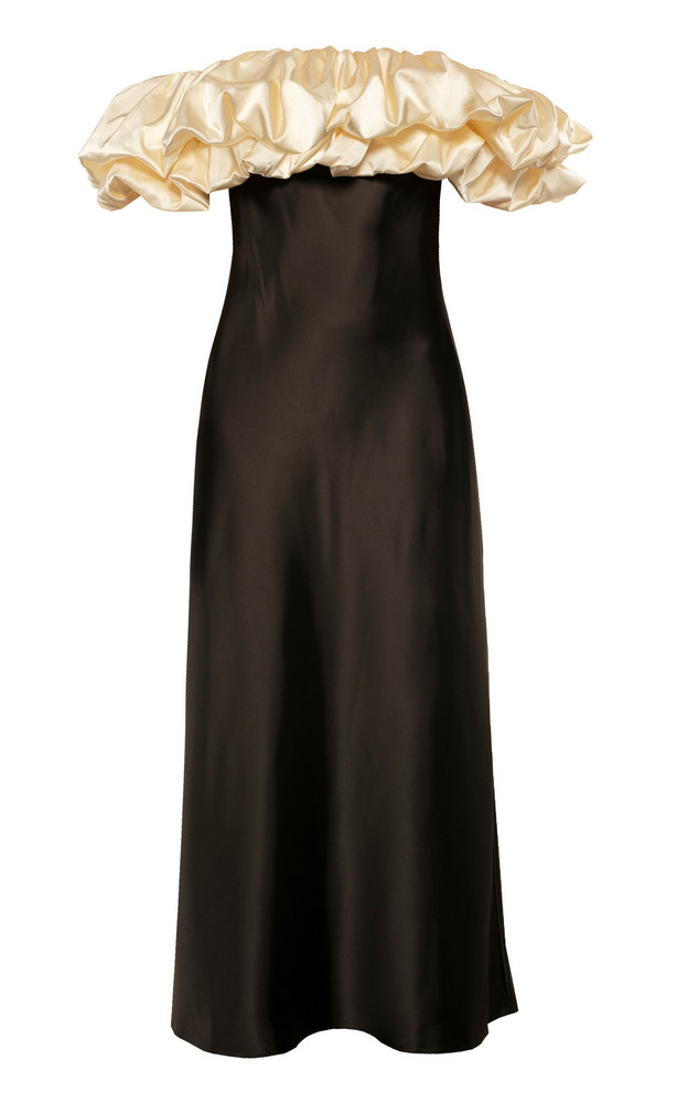 Anna October Full Moon Off-The-Shoulder Satin Dress Size: XS in black
