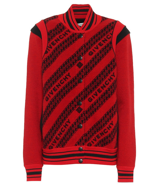 Givenchy Wool intarsia bomber jacket in red