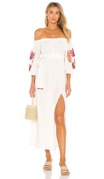 Sundress Poly Dress in Ivory in red / white