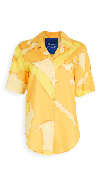 Simon Miller Dade Short Sleeve Button Down in yellow