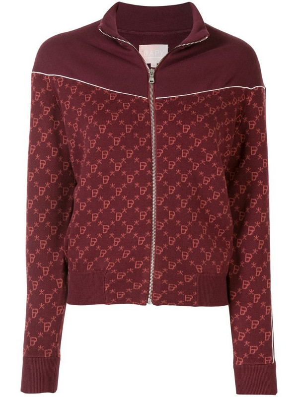 BAPY BY *A BATHING APE® intarsia knit zipped jacket in red