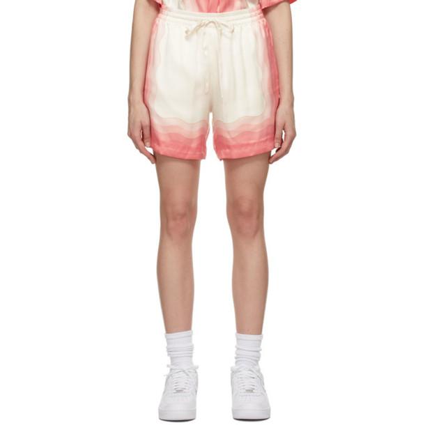 Casablanca Multicolor Silk Lucid Dreams Printed Shorts in peach