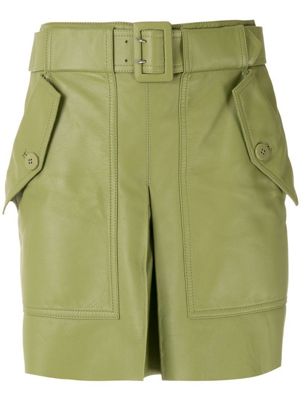 Nk leather belted skirt in green