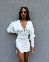 dress,white dress,slit dress,mini dress,long sleeve dress,v neck dress