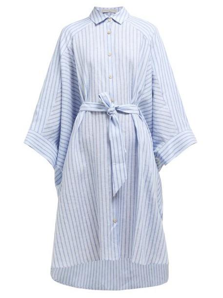 Palmer/harding Palmer//harding - Serra Striped Wide Sleeve Linen Shirtdress - Womens - Blue Stripe