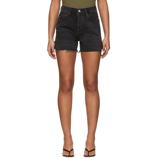AGOLDE Black Denim Dee Super High-Rise Shorts
