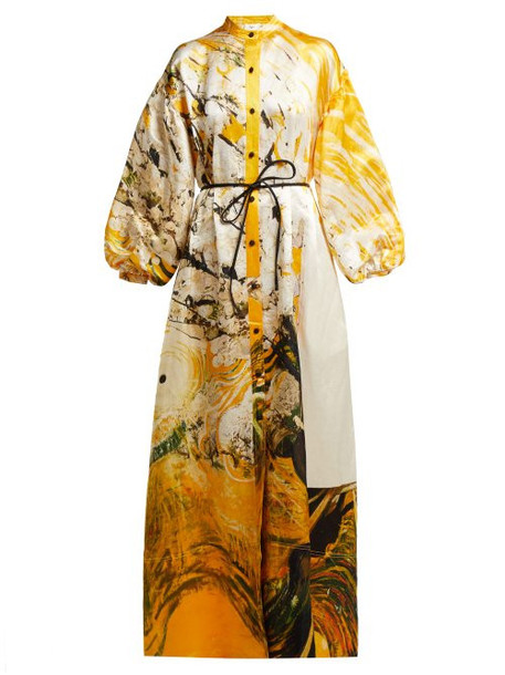 Aje - X Brett Whiteley Mcmahon Linen Blend Gown - Womens - Yellow Multi