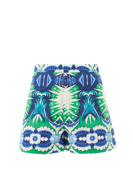 Le Sirenuse, Positano - Alma High-waist Fishtail-print Cotton Shorts - Womens - Green Print