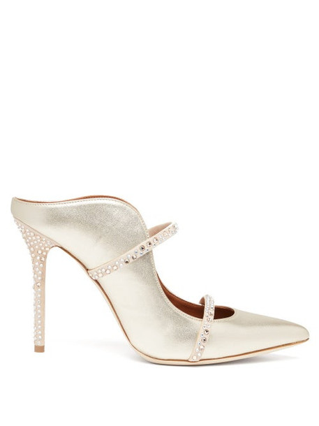 Malone Souliers - Maureen Crystal Embellished Leather Mules - Womens - Gold