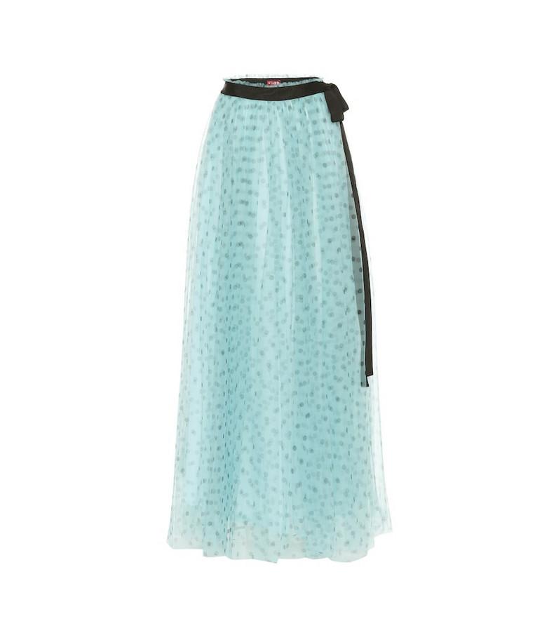 Staud Poppy tulle maxi skirt in blue