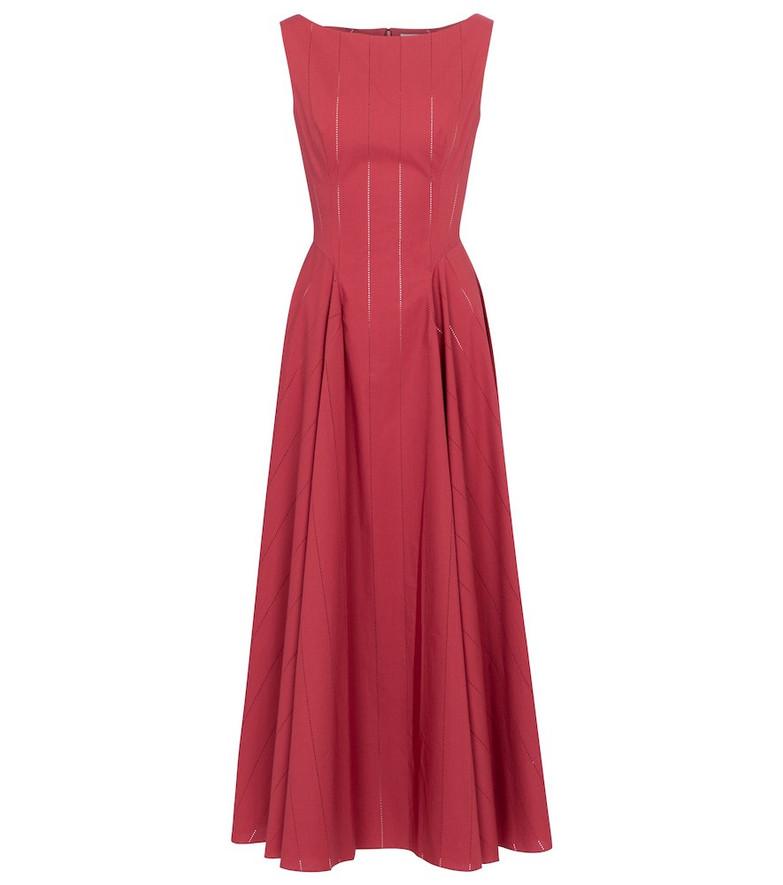 Alaïa Openwork cotton poplin maxi dress in pink