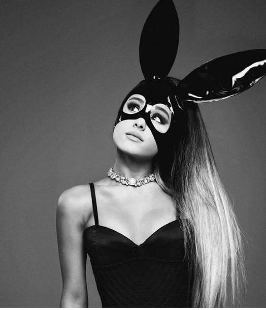 hair accessory ariana grande mask bunny ears editorial choker necklace black head jewels jewels jewel choker rhinestones