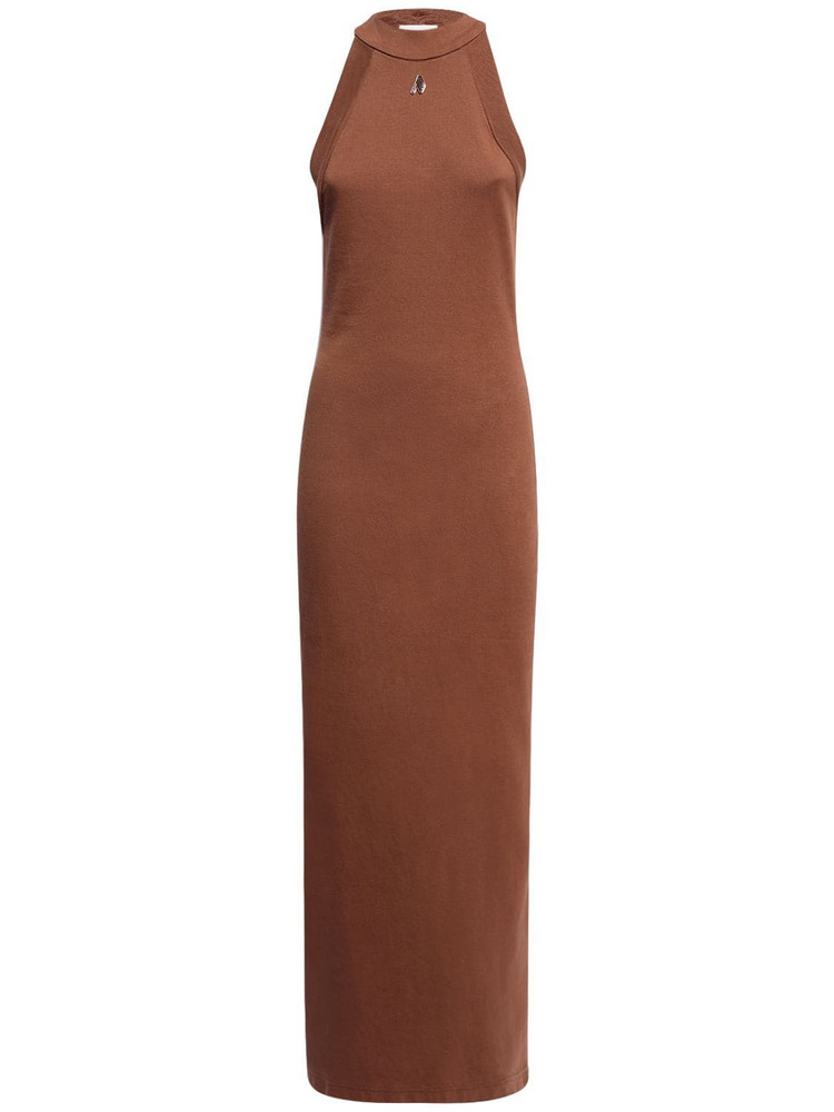 THE ATTICO Ema Cotton Jersey Long Dress in brown