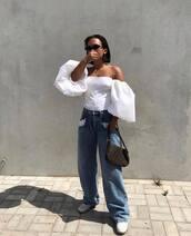 top,off the shoulder top,white top,boyfriend jeans,white shoes,fendi,bag