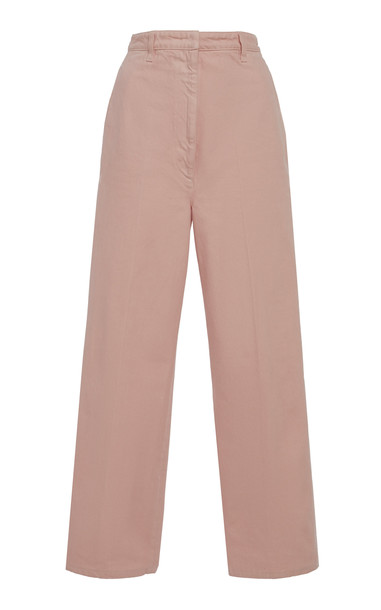 Prada Pleated Cotton Trousers in pink