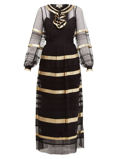 Temperley London - Phantom Pleated Swiss Dot Maxi Dress - Womens - Black Gold