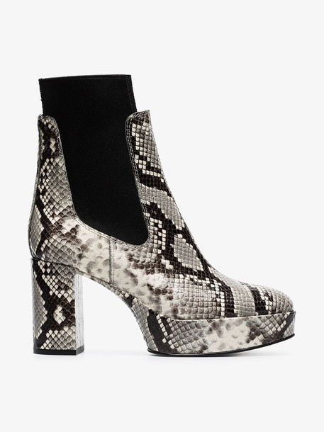 Acne Studios grey 90 snake-effect leather boots