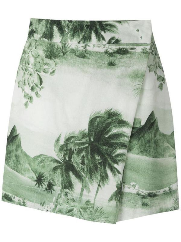Osklen RJ print wrap shorts in green