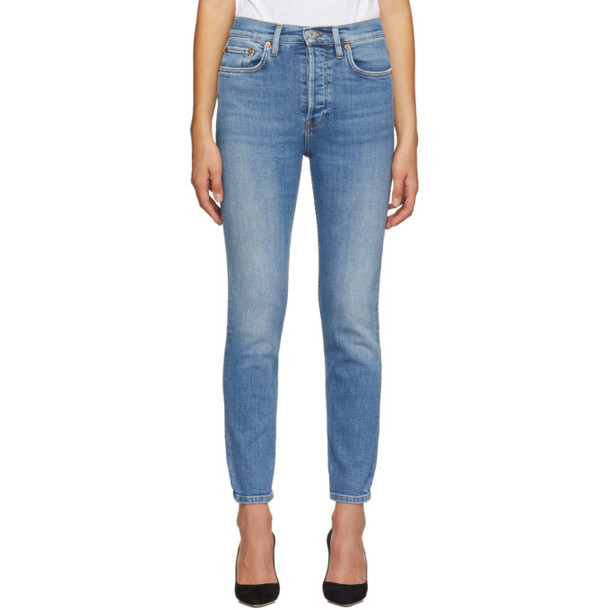 Re/Done Blue Originals High Rise Ankle Crop Jeans