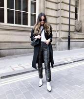 pants,snake skin pants,leather pants,heel boots,black coat,white t-shirt,crossbody bag,black bag