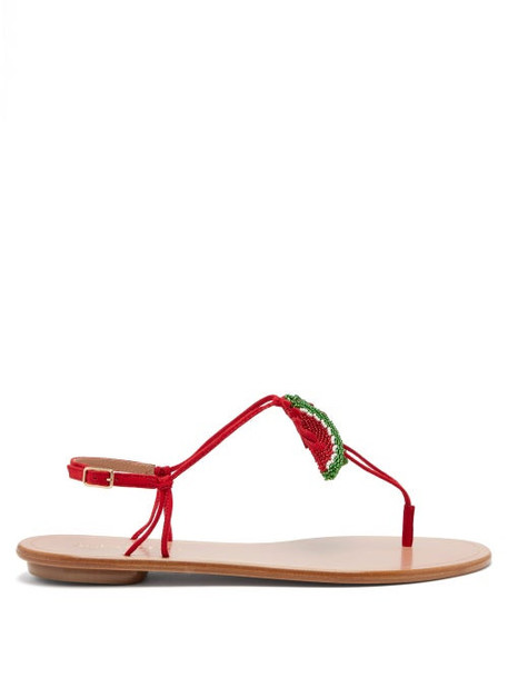 Aquazzura - Patillita Beaded Leather Sandals - Womens - Red Multi