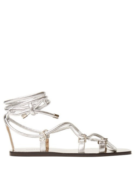 Jimmy Choo - Aziza Wrap Around Leather Sandals - Womens - Silver