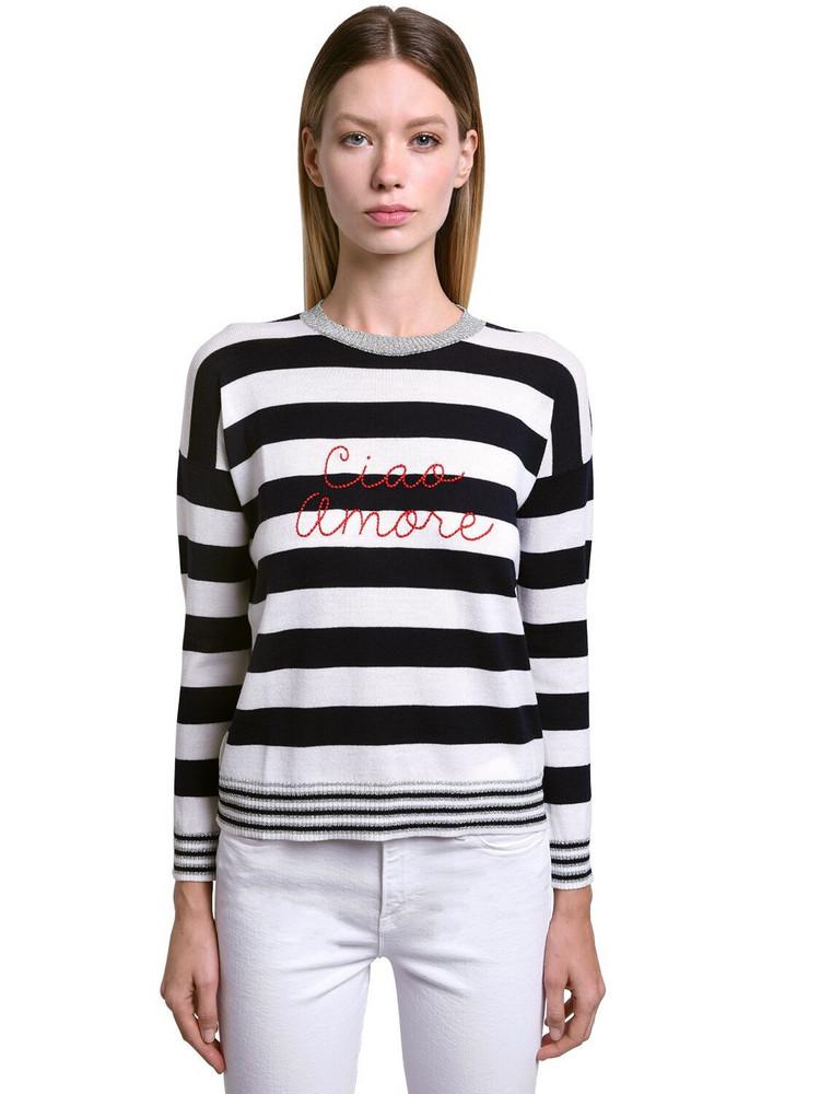 GIADA BENINCASA Ciao Amore Wool Blend Sweater in navy / white