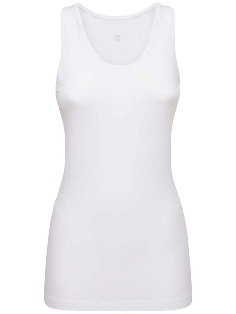 SWEATY BETTY Athlete Seamless Workout Tank Top in white