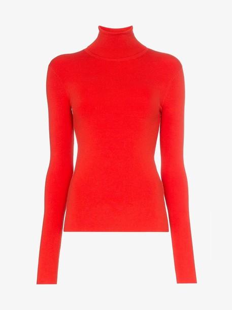 Joseph slim fit knitted turtleneck jumper in red
