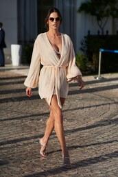 dress,wrap dress,glitter,mini dress,glitter dress,alessandra ambrosio,cannes,celebrity
