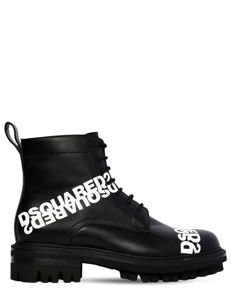 DSQUARED2 50mm Lace-up Leather Ankle Boots in black