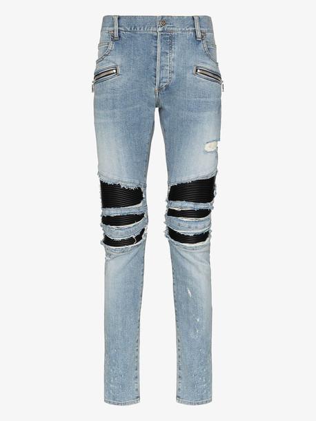 Balmain rip detail straight leg jeans