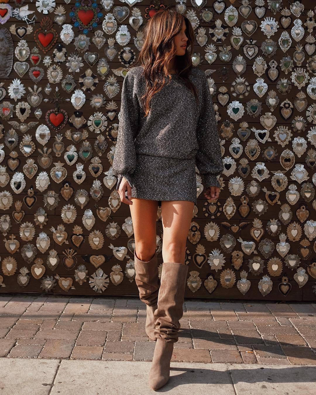 dress rocky barnes instagram glitter boots glitter dress celebrity blogger blogger style shoes knee high boots brown boots heel boots zara long sleeve dress mini dress leather boots