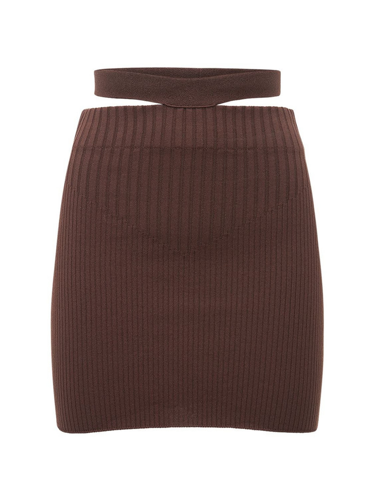 ADAMO Viscose Blend Rib Knit Cutout Mini Skirt