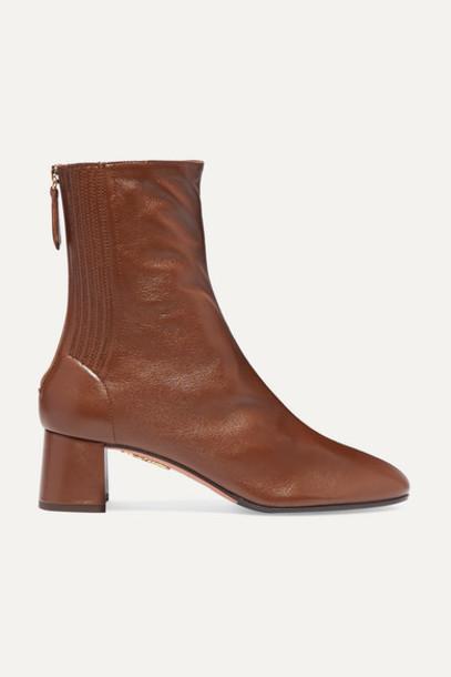 Aquazzura - Saint Honoré 50 Leather Ankle Boots - Tan