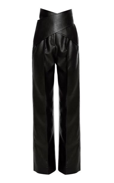 Aleksandre Akhalkatsishvili High-Rise Faux Leather Wrap Pants Size: XS in black