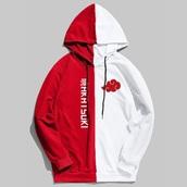 jacket,naruto,red split white,anime