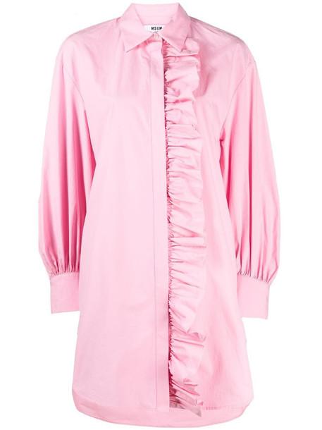 MSGM ruffled long-sleeved shirt dress in pink
