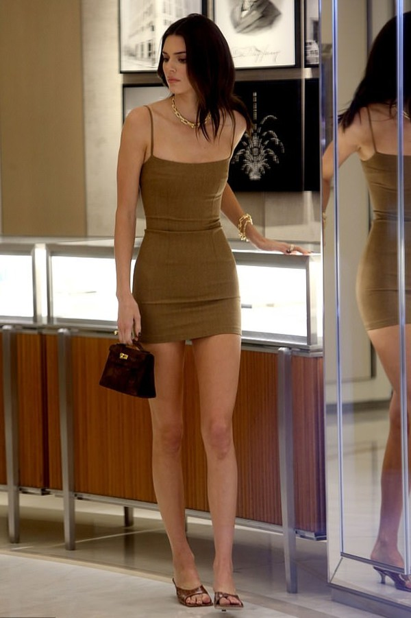 dress mini dress bodycon dress kendall jenner kardashians celebrity sandals brown dress